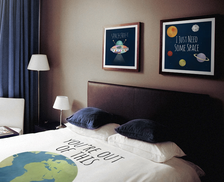 Spacecraft I Just Need Some Space Prints And You're Out Of This World Duvet Cover Bedroom Decor