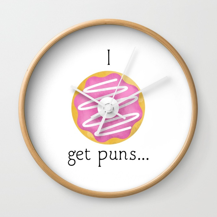 i-donut-get-puns-wall-clocks