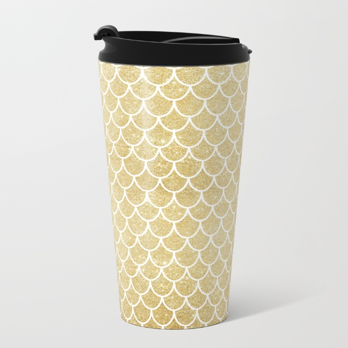 mermaid-tail-pattern-gold-glitter-metal-travel-mugs