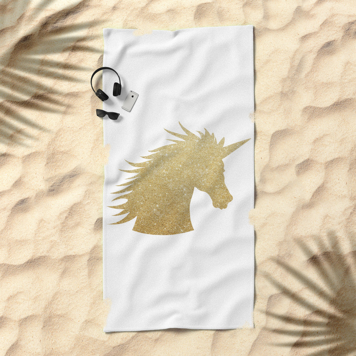 gold-glitter-unicorn-beach-towels